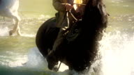 Cowboy on horseback Crossing river in slow motion