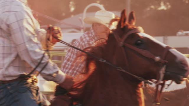 Cowboy races out the gate and attempts to bring down a steer by the horns at a rodeo - shot in slow motion.