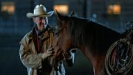SLO-MO-TU-Cowboy Pferd auf Gesicht streicheln, in der Nacht