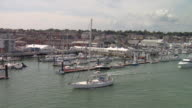LOW AERIAL Cowes Waterfront featuring Cowes Yacht Haven / Cowes, Isle of Wight, United Kingdom