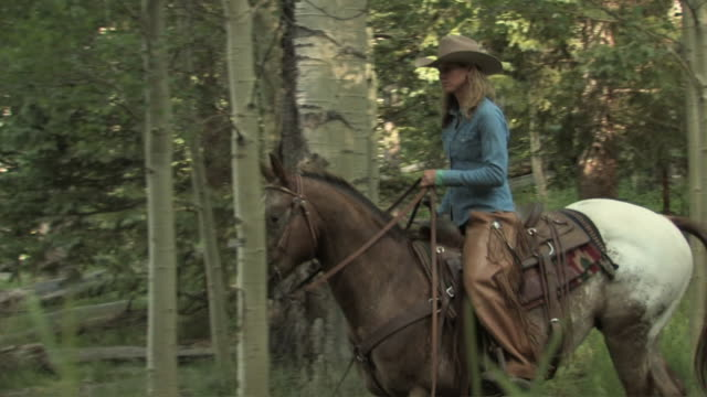 MS, TS, Cowgirl riding horse along mountain lake, USA