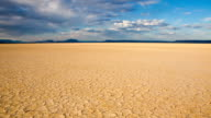 Cracked earth in remote Alvord Desert, Oregon, USA, timelapse