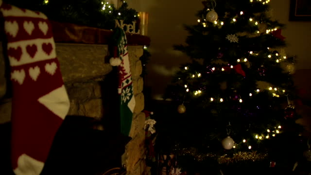 HD Crane: Christmas Stockings hung on fireplace by Tree