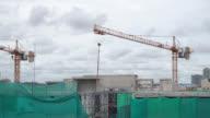 Crane construction over building