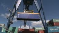 WS LA TU Crane lifting container at RRT Rhein-Ruhr-Container Terminal / Duisburg, North Rhine Westfalia, Germany