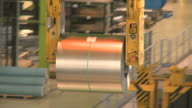 MS TS Crane lifting steel sheet at Thyssen Steel AG / Duisberg, North Rhine-Westphalia, Germany