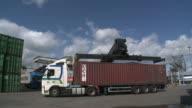 WS Crane preparing to remove container off truck at RRT Rhein-Ruhr-Container Terminal / Duisburg, North Rhine Westfalia, Germany