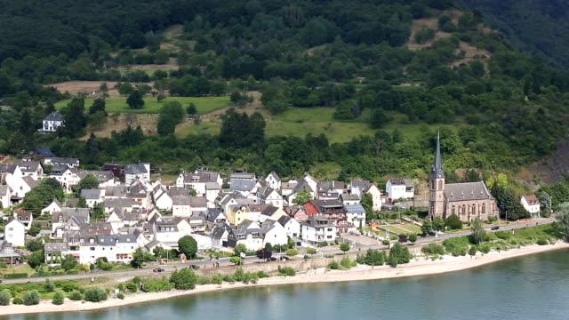 Crane shot: aerial Boppard cityscape Germany