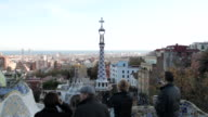 Crane shot from a rooftop at Park Guell in Barcelona.