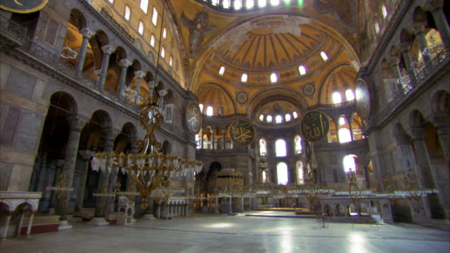 Crane shot inside the Hagia Sophia in Istanbul.