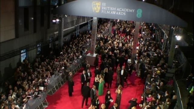 Crane shot of the red carpet at the BAFTAs 2014