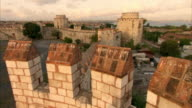Crane shot over a section of the Walls of Constantinople in Istanbul.