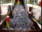 Crane winch opening bulging fishing net with dead fish pour from net into ship's hold, Pacific Ocean, NZ.