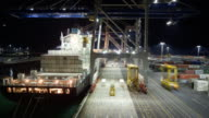 TL HA WS Cranes and straddle carriers unloading container ship at night at Fergusson Terminal at Ports of Auckland/ Auckland, New Zealand