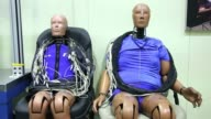 Crash test dummies sit at the Korea Automobile Insurance Repair Research and Training Center operated by the Korea Insurance Development Institute in...