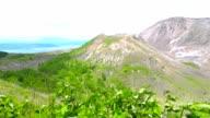 Craters of active volcano Mount Usu on Hokkaido, Japan