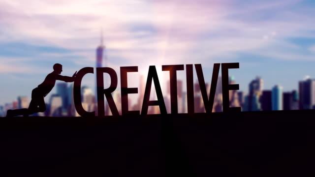 Kreativ - Geschäftsmann Silhouette schob thematischer Titel