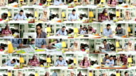 Kreative Menschen arbeiten. Video Wand.
