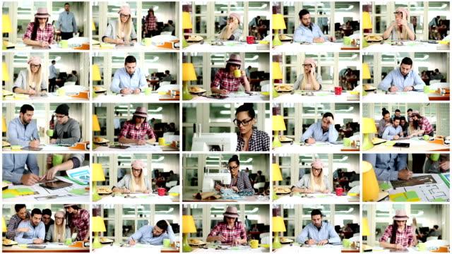 Creative people working. Video Wall.
