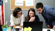 Creative team  at the office having fun