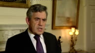 Gordon Brown statement ENGLAND London INT Gordon Brown MP interview SOT The vote in America is very disappointing the governor of the Bank of England...
