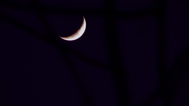 A crescent moon glows in a night sky. Available in HD.