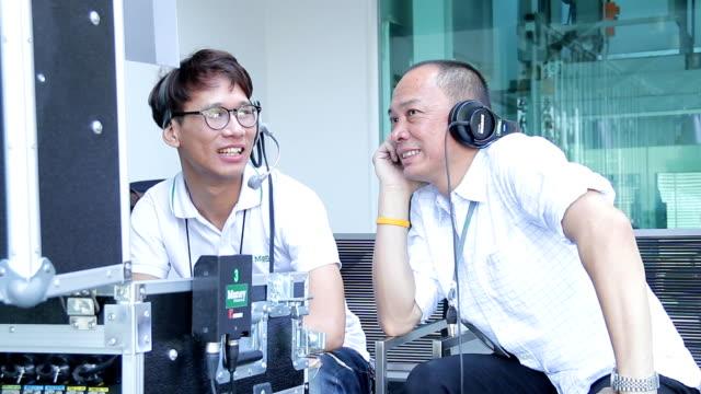 Crew in television studio,outdoor