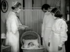 ''BABY FARM'' CU Crib identification card MS Parents amp nurse wearing mask looking at baby in crib EXT WS 'Baby farm' house DRAMATIZATION INT WS...