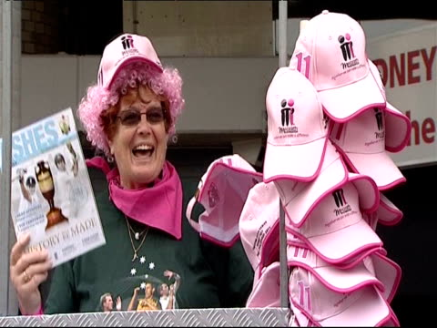 Cricket fans wear pink in honour of breast cancer during the third day of the final Ashes test in Sydney
