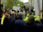 Animal Cruelty Mary Chipperfield Fined ITN Hampshire Aldershot Police along past animal rights protestors outside court Protestors with placards and...