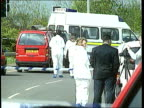 Kenneth Noye Extradition LIB ENGLAND Kent near Maidstone Cordoned off murder scene ZOOM IN forensic officers PAN across red van TLS vehicles involved...