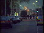 Canary Wharf Bomb plot foiled EXT NIGHT Stoke Newington LMS Police around lorry on which large TX fertiliser bomb was discovered in ITN routine check...