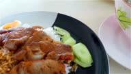Crispy roasted belly pork and Leng or Pork bone Tom-yum, Thai food.