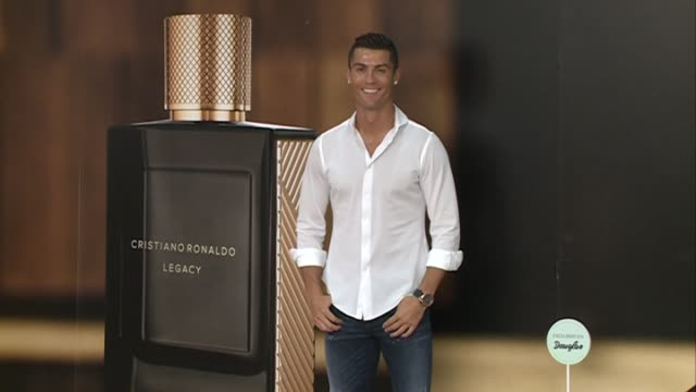 cristiano ronaldo launches his debut fragrance cristiano ronaldo stock footage video getty. Black Bedroom Furniture Sets. Home Design Ideas