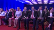 Croatian President Kolinda Grabar Kitarovic delivers a speech during the second day of Seventh 'To Be Secure' Forum in Budva Montenegro on May 13...