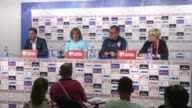 Croatia's head coach Ante Cacic and midfielder Luka Modric attend a press conference in Zagreb Croatia on September 04 2016 Croatia will face Turkey...