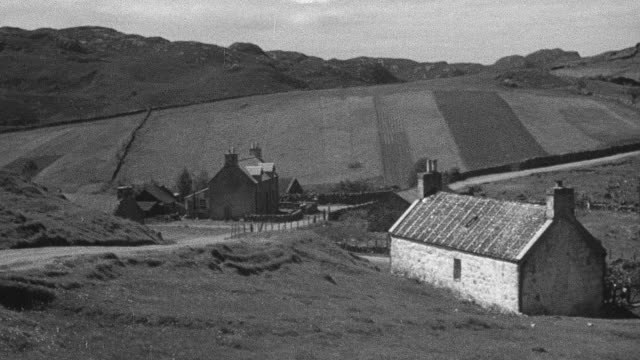 1944 PAN Crofter and dog walking down dirt road, while crofter discusses housing security within community / Achriesgill, Scotland, United Kingdom
