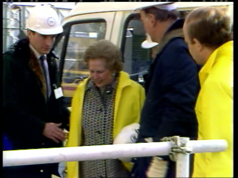 Sealink P O R 5288 ITN/POOL ENGLAND Kent Folkestone MS Entrance to Channel tunnel Margaret Thatcher RL from van PAN RL as R MS Tunneling machine...