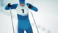 SLO MO cross country skier on the track