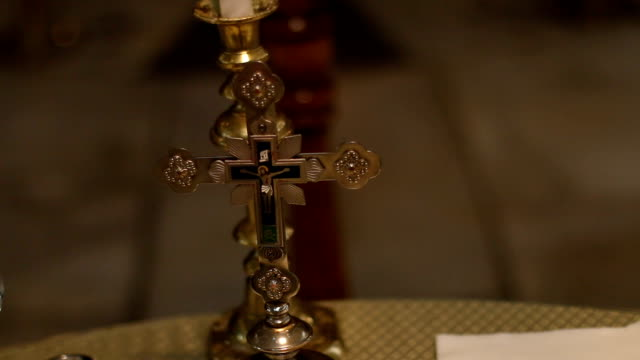 Cross on altar in church