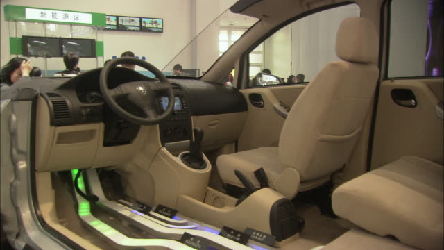 MS Cross section of hybrid car on display at Beijing Auto Show, Beijing, China