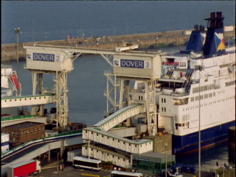 Cross-channel ferries load up Dover