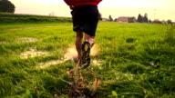 SLO MO Cross-Country-Running über Nasses Gras
