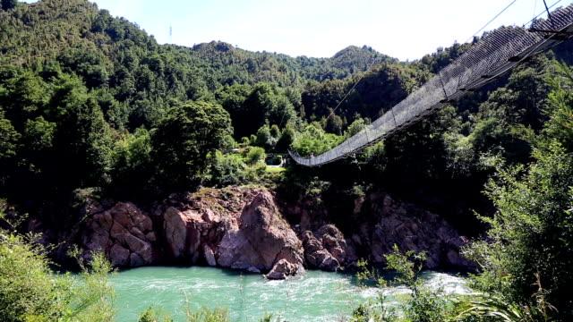 Crossing a suspension bridge in New Zealand