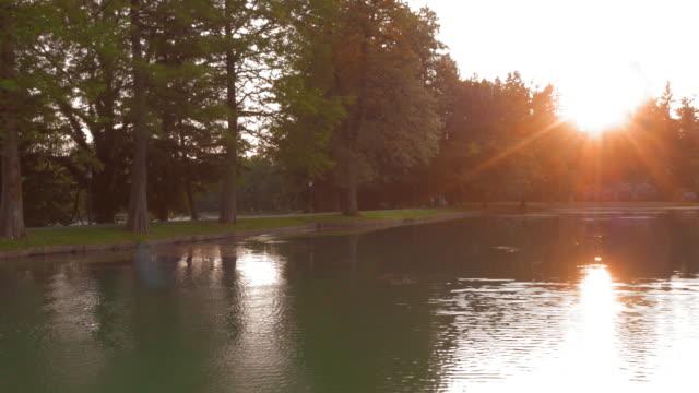 ANTENNE die het meer oversteken bij zonsondergang