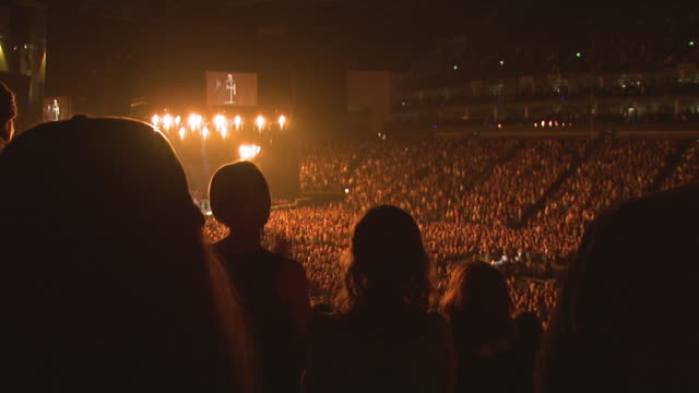 WS Crowd applauding at musical concert, stage in background / London, London, UK