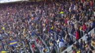 WS PAN TU Crowd cheering at stadium / Buenos Aires, Argentina