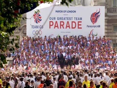Crowd cheering at Team GB parade