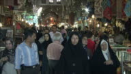 MS TD TU Crowd in Grand Bazaar at night, Isfahan, Iran