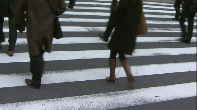 A crowd of businesswomen and men walks over a crosswalk.